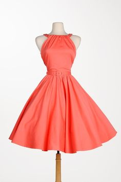 Harley Dress in Peach Sateen | Pinup Girl Clothing