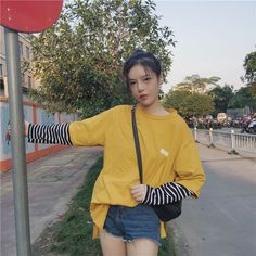 Ulzzang Fashion, Korean Fashion, Striped Long Sleeve Shirt, Long Sleeve Shirts, Vintage Fashion, Vintage Style, Two Pieces, Bomber Jacket, Sporty