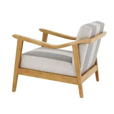 Proteus Oak Armchair Transitional, MidCentury Modern, Metal, Wood, Upholstery Fabric, Armchairs Club Chair by Kimberly Denman