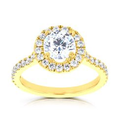 La Vita Vital 14k Yellow Gold 1.55ct TDW RB Diamond Halo Engagement Ring (G-H, VS-SI1) (Size 10), Women's