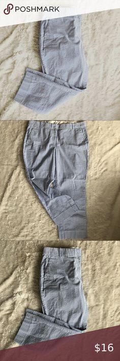 Boys Izod Pants SEERSUCKER Flat Front Blue White Striped Straight 10 12 14 18 20