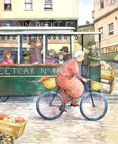 "From the children's book ""Mrs. Peachtree's Bicycle"" by Erica Silverman, illustrated by Ellen Beier; Simon  Schuster Children's Publishing (1996)"