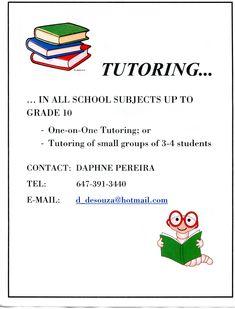 Tutor Tutoring promotional tear sheet flyer   School Dayz ...