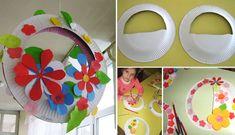 Hanging baskets Crafts To Do, Crafts For Kids, Arts And Crafts, Diy Crafts, Projects For Kids, Diy For Kids, Paper Plate Basket, Class Board Decoration, Cupcake Liner Crafts