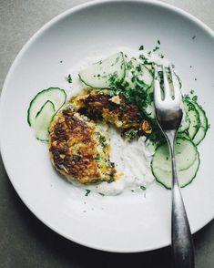 squash, greens + quinoa fritters recipe - healthy meal ideas
