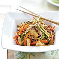 Soba Noodles with Chicken and Vegetables Recipe   MyRecipes.com