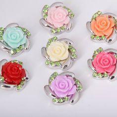 wholesale 30pcs/lot Mix Colors Rose Flower Metal Rhinestone Snap Buttons fit 18mm Diy Snaps Button bracelet DIY jewelry
