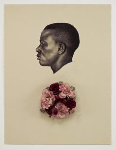 Whitfield Lovell. American, born 1959, Kin VII (Scent of Magnolia), 2008, Conte crayon on paper with attached wreath, 30 x 22 1/2 x 3""