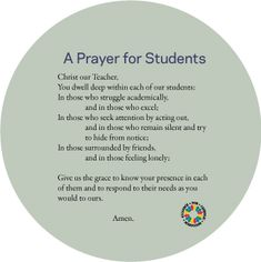 Take a moment for prayer in these back to school days ...