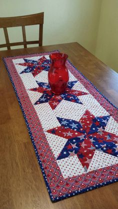 Patriotic Table Runner  Red White and blue by QuiltsClothsCovers