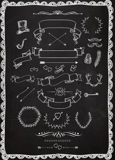 Chalkboard clipart Laurels Ribbons Wreaths by BlackCatsMedia Chalkboard Clipart, Chalkboard Doodles, Chalkboard Writing, Chalkboard Lettering, Chalkboard Designs, Chalkboard Banner, Chalkboard Drawings, Chalk It Up, Chalk Art