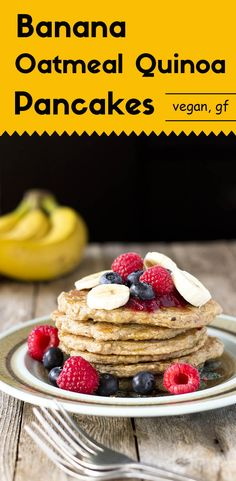 These vegan, and gluten-free oatmeal quinoa pancakes are sweet, soft, and moist. They have a rich banana flavor with a mild nutty taste from the quinoa. via @lightorangebean