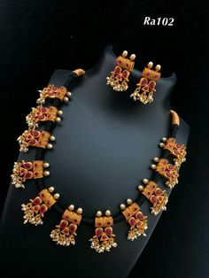 Neckpiece Order what's app 7995736811 India Jewelry, Temple Jewellery, Indian Jewellery Design, Jewelry Design, Designer Jewellery, Designer Wear, Pendant Jewelry, Beaded Jewelry, Thread Jewellery