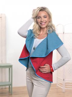 Circular Drape Waistcoat,free download,easy to make and versatile-wear as shown or with a belt.