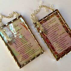 Ten Commandments and Prayer for Peace prayers set of two plaques soldered in iridescent water glass with crystal cubes and crosses by SacredArtwork on Etsy