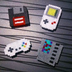 Geek magnets hama mini beads by omglinno Mini Hama Beads, Diy Perler Beads, Perler Bead Art, Fuse Beads, Pearler Beads, Hama Mini, Melty Bead Patterns, Pearler Bead Patterns, Perler Patterns