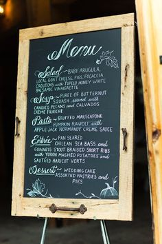 Perfect for displaying the reception menu! Going to make something similar to this. Extra Large Barn Wood Chalkboard, via Etsy.