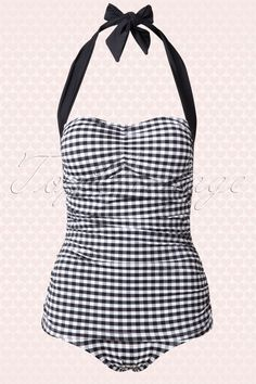 e6c431a3f6 Bunny Elsie Classic Black and white Gingham Swimsuit 15366 20150521