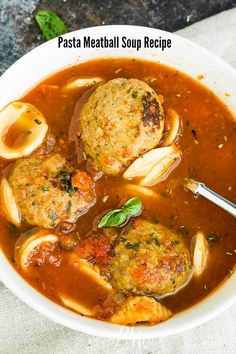 Pasta Meatball Soup Recipe, this hearty soup is simple to make and good for any season. It will fill your tummy and warm your soul. #pasta #noodles #Italian #soup #meatballs #easy Best Soup Recipes, Great Recipes, Favorite Recipes, Healthy Recipes, Beef Pasta, Pasta Noodles, Meatball Soup, Italian Soup, No Noodle Lasagna