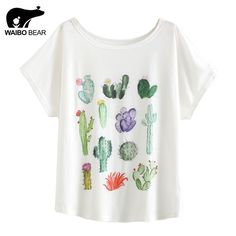 fa736e693 Aliexpress.com : Buy New 2017 Summer Women Desert Cactus Print T Shirts  Cute Casual Short Sleeve Girl T Shirts O Neck Graphic Tops Tees WAIBO BEAR  from ...