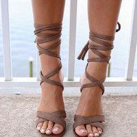 Until Dawn Taupe Tie-Up Heels