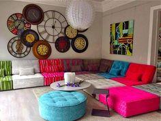 What a lovely contemporary fabric modular sofa! Living Room Sofa Design, Living Room Seating, Living Room Flooring, Lounge Seating, Living Room Designs, Living Room Decor, Bedroom Decor, Indian Room, Indian Home Decor