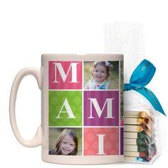 Mami Mug, White, with Ghirardelli Assorted Squares, 15 oz, Purple