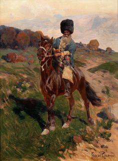 BÄRTIGER KOSAKENREITER 30,5 x 23,5 cm. Öl auf Mahagoniholz. Rechts unten signiert. Der russische Maler, Sohn einer französischen Immigrantenfamilie, bewarb...