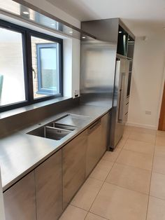 Stainless Steel Kitchen Cabinets, Stainless Steel Table, Brushed Stainless Steel, Railings, Kitchen Ideas, Kitchens, Industrial, Room, Photos