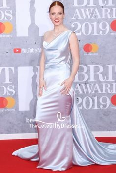 #JessGlynne #SilverDresses Sheath #EveningDress #BRIT Awards 2019 #RedCarpet - TheCelebrityDresses