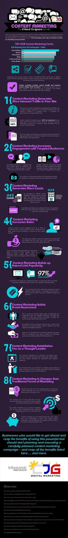 Infographic: 8 Hard-to-ignore Content Marketing Benefits #infographic #contentstrategy