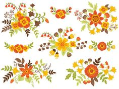 ITEM: Floral Bouquet #Clipart - #Digital #Vector Flowers, Bouquet, Fall, Autumn Clip Art for Personal and Commercial Use  WHAT INCLUDED: 8 PNG files (transparent background, 3... #thecreativemill #clipart #digital #vector #flowers #floral