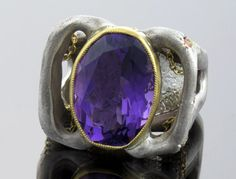 ALEN LAPIERRE  22K & SS Amethyst  Ring with Orange by ALENLAPIERRE, $2700.00