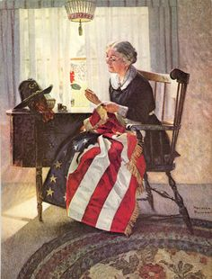print Norman Rockwell, Mending the flag, Literary Digest Cover America history 1922 FREE shipping