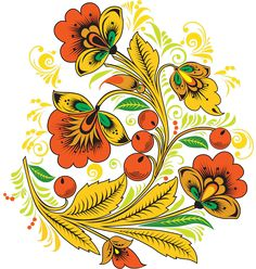 Folk Khokhloma painting from Russia. Floral pattern with berries. #art #folk #painting #Russian