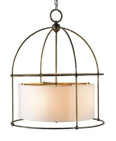 View the Currey and Company 9885 Benson 4 Light Pendant with Wrought Iron Frame Around Ivory Drum Shade at LightingDirect.com.