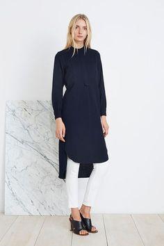 APIECE APART NY BY GEMMA HOLT~SAMARA SHIRT DRESS~NAVY WOOL~SIZE 4 / SMALL~$395! #ApieceApart