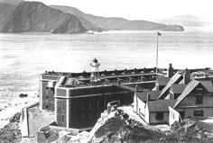 Before the GG Bridge -- Fort Point in the foreground, looking across the Golden Gate (the strait connecting San Francisco Bay to the Pacific Ocean), toward Marin County to the north, in 1910. - National Park Service