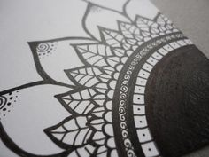 Mendhi Sunflower Black & White Ink Original by melaniehazen, $18.00