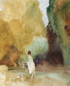 William Russell Flint (1880-1969), The Timid Huntress (n.d.), watercolour.