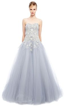 Metallic Floral Tulle Ball Gown by Marchesa for Preorder on Moda Operandi