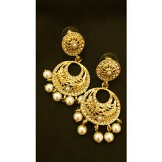 royal gold and pearl Earrings