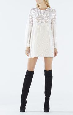 Kitra Jacquard Lace Peasant Dress