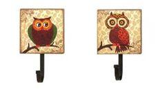 Set of 2 Owl Wall Hooks -Big Eyes - Retro Owls
