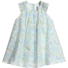 Dior girls dress and knickers set in soft lightweight cotton with a pale blue floral print. The loose fitting dress has pretty pleats on the front and the matching bloomers have sweet ruffled cuffs and an elasticated waistband. <ul> <li>100% soft lightweight cotton</li> <li>Machine wash (30*C)</li> <li>2 piece set</li> </ul>