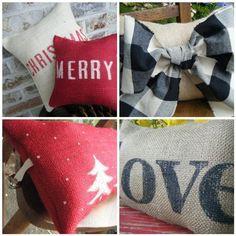 burlap stenciled pillows...so easy