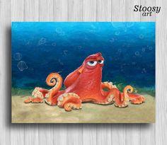 hank the octopus finding dory print pixar art finding by Stoosyart