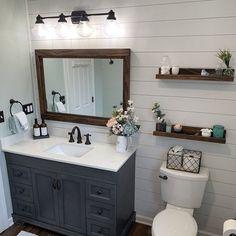 Upstairs Bathrooms, Downstairs Bathroom, Bathroom Renos, Farmhouse Mirrors, Modern Farmhouse Bathroom, Cottage Style Bathrooms, Rustic Mirrors, Wood Framed Mirror, Framed Mirror Bathroom