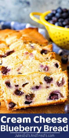 Cream Cheese Blueberry Bread is quick, easy and so delicious! Loaded with fr. The Cream Cheese Blueberry Bread is quick, easy and so delicious! Loaded with fr.The Cream Cheese Blueberry Bread is quick, easy and so delicious! Loaded with fr. Best Bread Recipe, Quick Bread Recipes, Gourmet Recipes, Yummy Recipes, Baking Recipes, Blueberry Breakfast Recipes, Blueberry Quick Bread, Blueberry Cream Cheese Muffins, Blueberry Pancakes