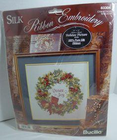 Bucilla silk ribbon embroidery kit Christmas wreath #83304 Peace & Joy 1995